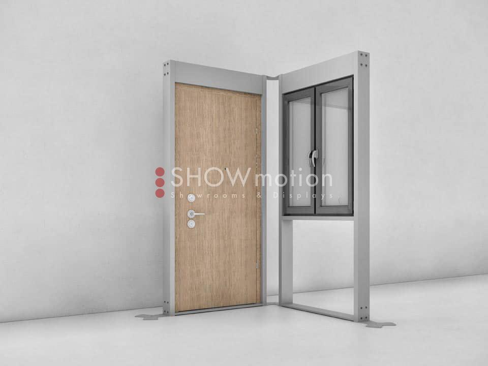 Sistema Modulare FLEXO_Combinazione a L_finestra e porta blindata