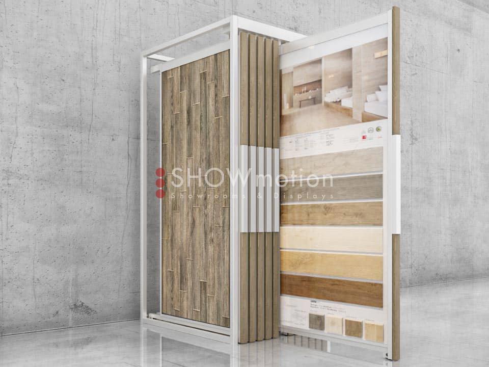 ShowMotion_FUTURA 12 DELUXE_Ausstellungssystem für Fliesen mit Holzblende