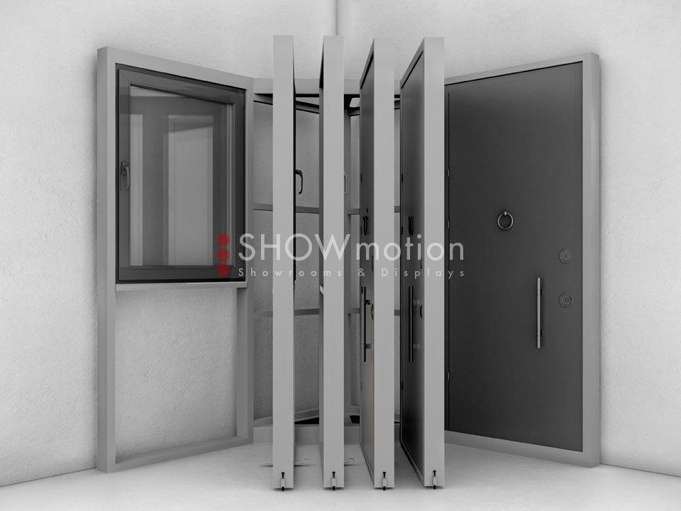 ShowMotion_IMAGE 6 CORNER_presentoir à ventail pour portes d'entree et fenetre