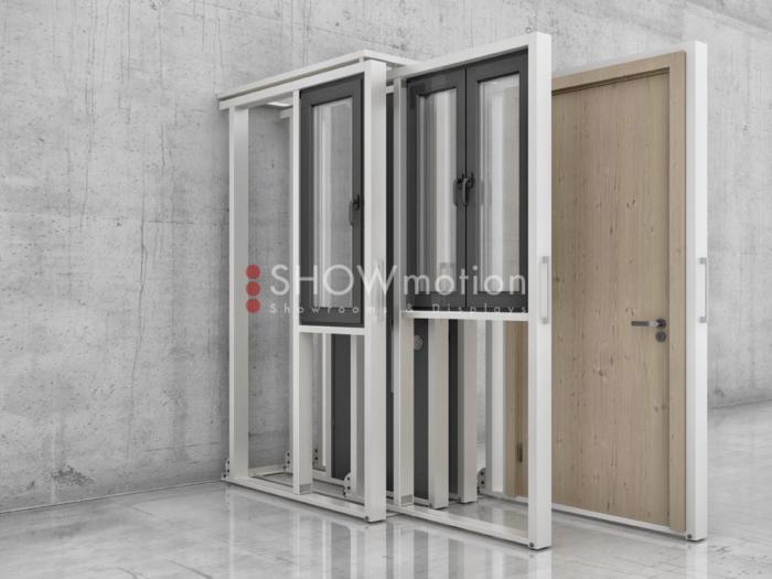 ShowMotion verstellbares Ausstellungssysteme für Türen und Fenster