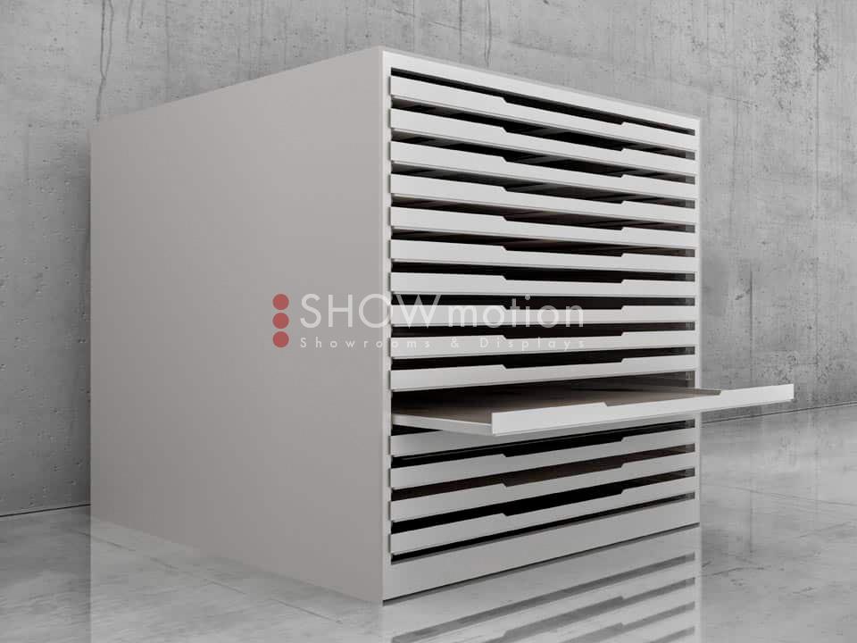 ShowMotion_SOLIDA-15_92x92_Präsentationsmöbel Bodenschrank für Bodenfliesen, keramische Fliesen, Bodenbeläge