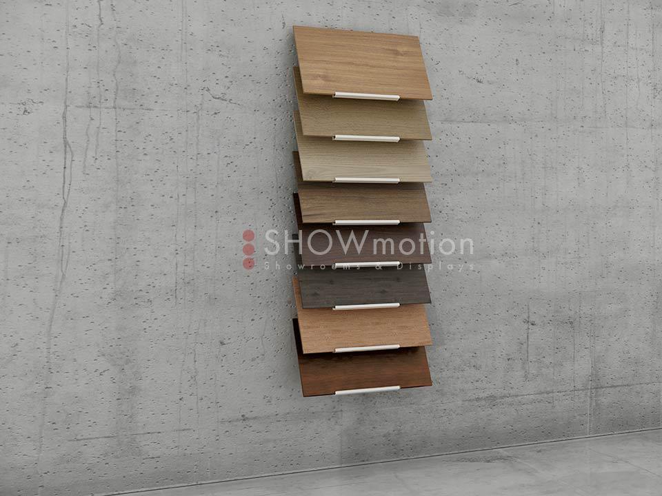 Wandmusterständer für 8 Holzbodenmuster - Ausstellungssystem Ihres Parketts - Showmotion